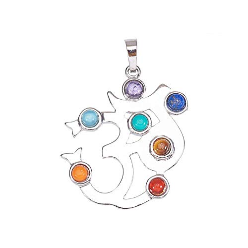 Pandahall 1PCS 7 Chakras Natural Quartz Gemstones Beads Pendant Healing Point Chakra Reiki - Ohm Style ()