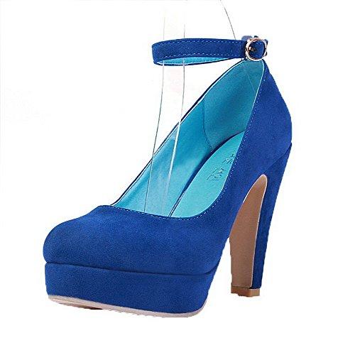 AgooLar Damen Rein Mattglasbirne Hoher Absatz Rund Zehe Schnalle Pumps Schuhe Blau