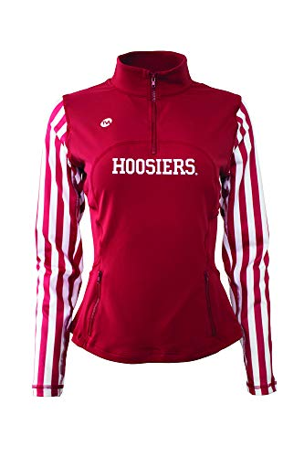 - Twin Vision Activewear Indiana Hoosiers Womens 1/4 Zip Yoga Track Warmup Jacket (Medium) Red