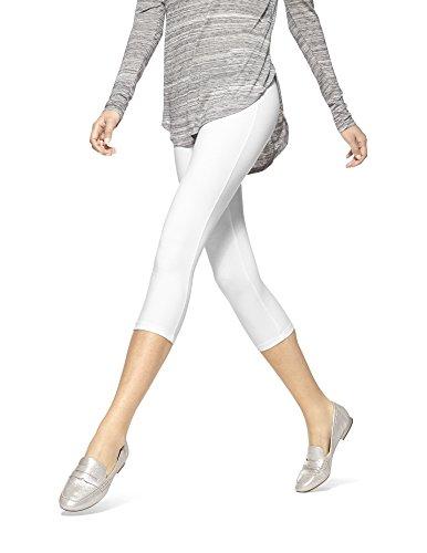 HUE, Women's, Hue Temp Control Cotton Capri Leggings, White, Large (Cotton White Leggings)