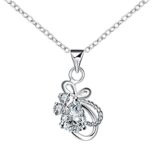 White Zircon Necklace - Tobert Women's 18K Silver Plated Charming Butterfly Inlay Drop White Zircon Necklace