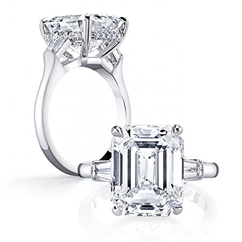 [Erllo 925 Sterling Silver Emerald Cut Cubic Zirconia CZ 3 Stone Engagement Wedding Rings Size 5] (Emerald Cut Cubic Zirconia Ring)