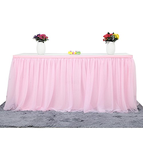 CHIGER Tulle Table Skirt High-end Gold Brim Mesh Fluffy 2 Yards Tutu Table Skirt For Party,Wedding,Birthday Party&Home Decoration (6FT X 0.8M, Pink) by CHIGER (Image #1)