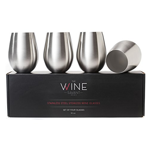l Wine Glasses Set of 4, Large Unbreakable, Shatterproof 18 Oz Wine Tumblers, BPA Free and Dishwasher Safe, Made with 18/8 Stainless Steel, Stemless Metallic Wine Glass (Stainless Steel Dinette Sets)