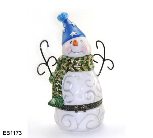 (Art Gifts Christmas Holiday Snowman Hinged Porcelain Trinket Box ...)