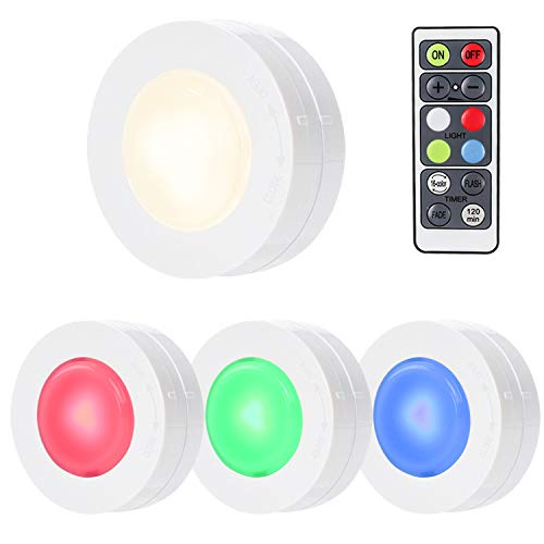 SALKING RGB Puck Light, LED Under Cabinet Lighting, Dimmable Closet Lights, RGBW 16 Color Changing with Remote Battery Powered,Under Counter Lights for Kitchen Halloween/Hallowmas Decoration-4 Pack ()