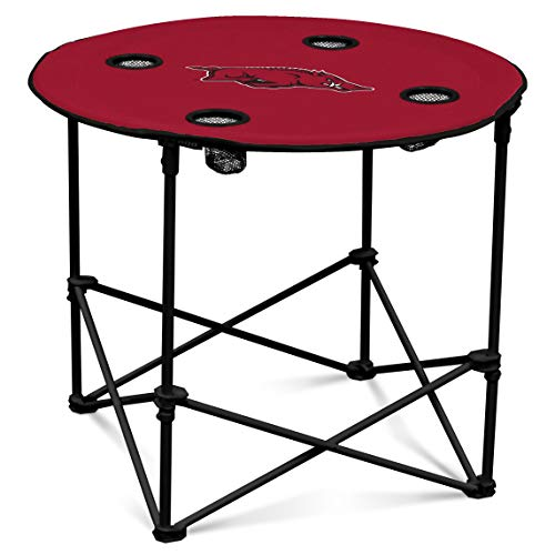 Arkansas Razorbacks Collapsible Round Table with 4 Cup Holders and Carry Bag