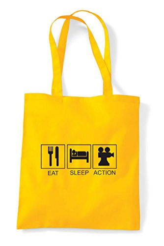 Sleep Hobby Eat Funny Action Activity Yellow Tote Shopper Bag Tiles qwwRvSHId