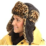 6aea0a60734 i-Smalls Ladies New For Winter Black Trapper Hat With Leopard Print Faux Fur  Trim