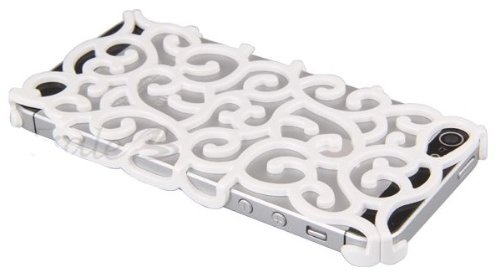 itronik IPhone 4 4S VIP Designer Cover Orient chrom LOOK case hülle schale bling - Weiss