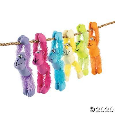 Plush Neon Long Armed Gorillas Party Favors - 12 Pieces: Toys & Games