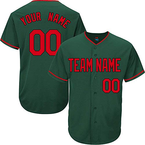 Hunter Green Custom Baseball Jersey for Men Women Youth Full Button Embroidered Team Name & Numbers S-5XL Red Black