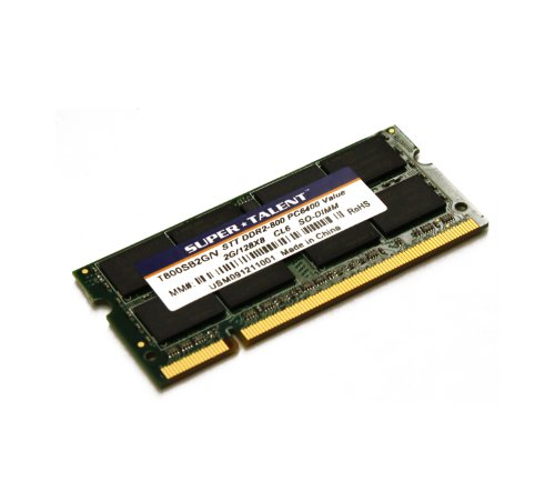 Super Talent DDR2-800 SODIMM 2 GB/128 x 8 Value Notebook Memory T800SB2G/V ()