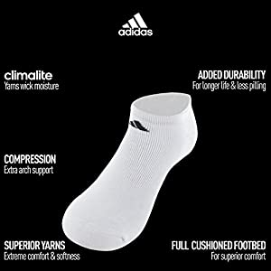adidas Men's Athletic No Show Sock, Black/Aluminum 2, Pack of 6, 6-12