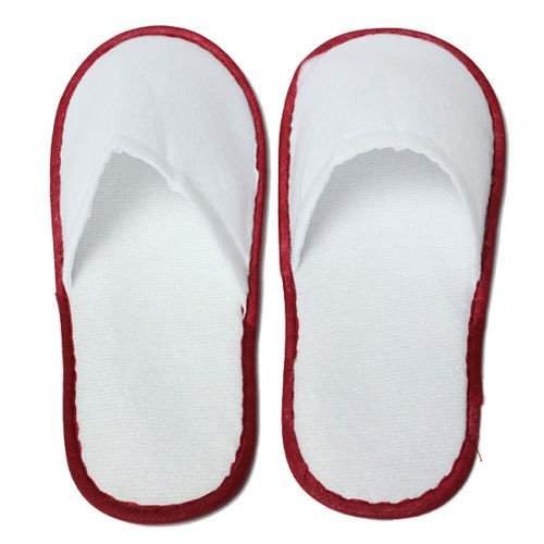 Disposable Slippers - SODIAL(R)20 pairs of White Towelling Hotel Disposable Slippers Terry Spa Guest Shoes White + Red by SODIAL(R) (Image #4)
