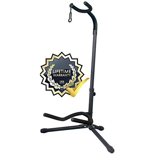 GLEAM Guitar Stand - Adjustable Fit Electric, Classical Guitars and Bass, Guitar Accessories, Folding Guitar Stand