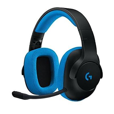 Logitech G233 Prodigy - Auriculares de diadema cerrados (con micrófono y cable, para gaming, PC, Xbox One, PS4, Switch, móviles) color negro y azul