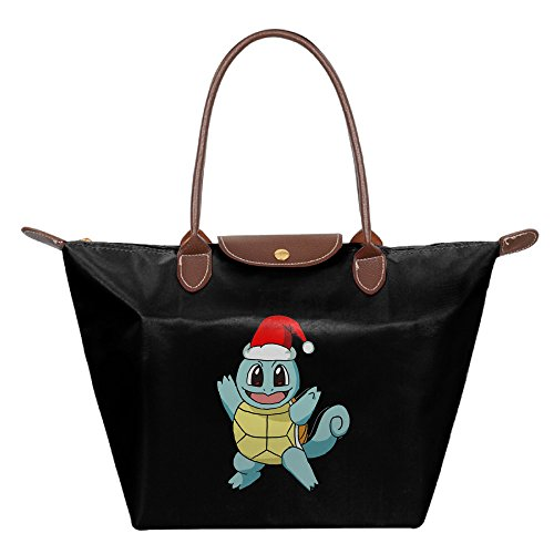 [Squirtle Christmas Women Black Nylon Handbag Tote Shoulder Bags] (Female Squirtle Costume)