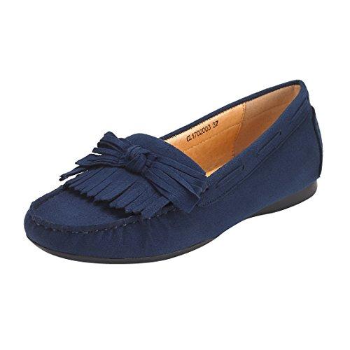 JENN ARDOR Tassel Suede Penny Loafers for Women: Bow Knot Slip-on Driving Moccasins Boat Walking Flats -Dark Blue Suede tassel, US 6.5 M