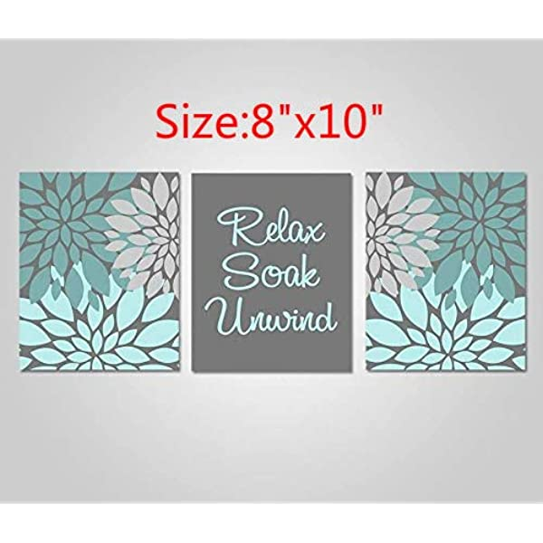 Amazon Com Blafitance Bathroom Wall Art Teal Aqua Grey Bathroom Decor Relax Soak Unwind Teal Grey Prints Set Of 3 Canvas Wall Art Posters Prints
