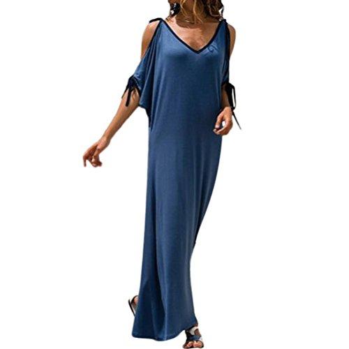 Cinnamou Vestido suelto de manga corta sin tirantes con cuello en V para mujer tallas grandes vestidos del fiesta de noche casual