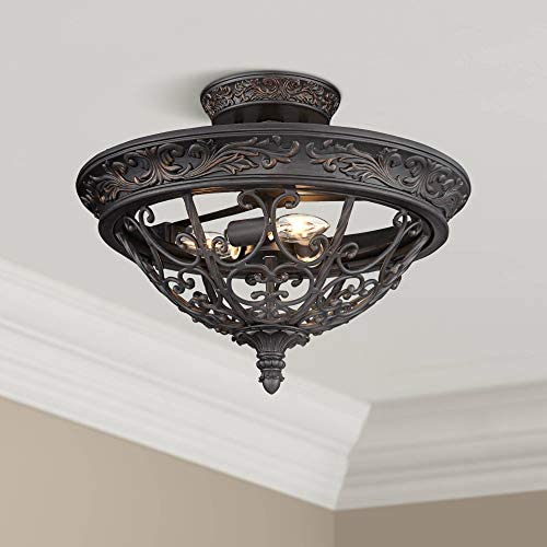French Scroll Rustic Farmhouse Ceiling Light Semi Flush Mount Fixture Rubbed Bronze Scrollwork 16 1 2 Wide for Bedroom Kitchen Living Room Hallway Bathroom – Franklin Iron Works