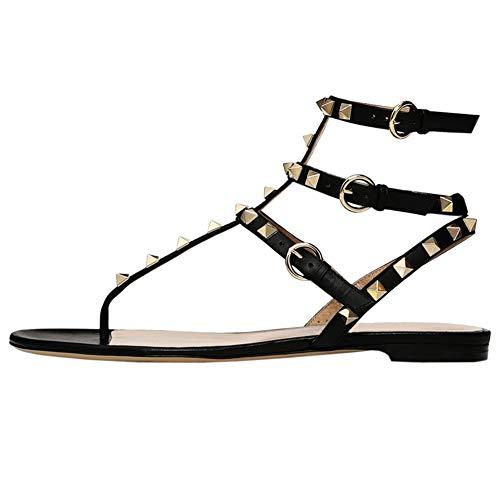 - VOCOSI Women's Rivets Studded Flats Shoes T-Strap Strappy Flats Thong Sandals Shoes Matte Black 9 US