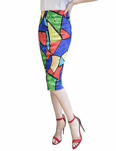 - dress ZLL Femme Grandes Tailles Jupes Imprimé Fendue,Taille Haute Midi Sortie Coton Fermeture éclair Micro-élastique Eté XL