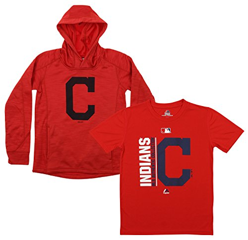 Outerstuff MLB Youth Primary Icon Hoodie And Tee Combo, Cleveland Indians Large (14-16)