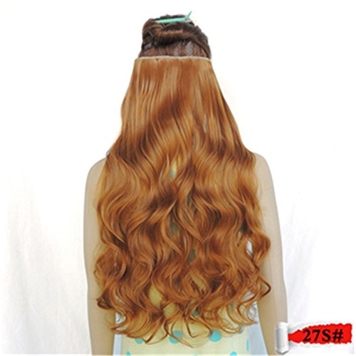 - 5 Clip In Hair Extensions 70Cm Length 120G Synthetic Hair Clips Extension 25 Colors Curly Hairpiece Hairpin Barrettes 27S# 28inches