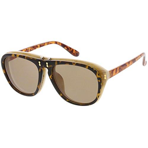 sunglassLA - Men's Two Toned Flip-Up Aviator Sunglasses Neutral Colored Lens 55mm (Tortoise Creme / - Tortoise Colored Glasses