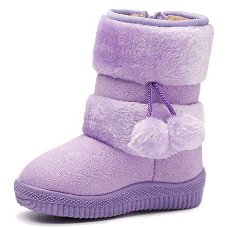 DADAWEN Baby's Girl's Cute Flat Shoes Pom Pom Winter Warm Snow Boots Purple US Size 6.5 M Toddler(Toddler/Little Kid/Big Kid)