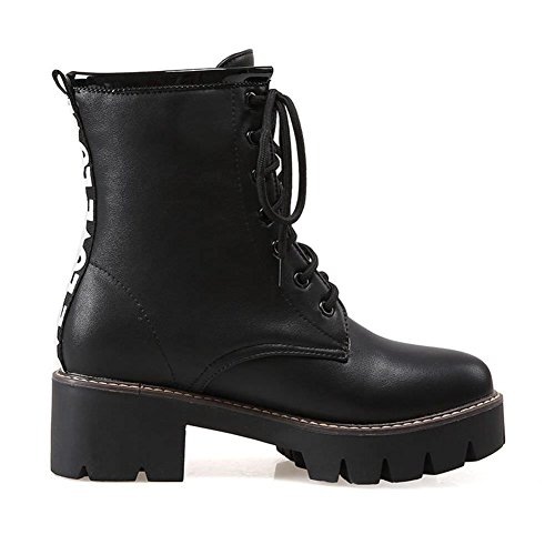 DecoStain Women's Leather Lace-Up Mid Block Heel Combat Ankle Martin Boots Size Black aty3zBz