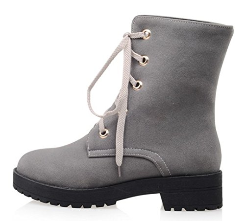 Booties Heels Aisun Women's Frosted Chunky Toe New Up Gray Round Lace Mid vY6qxTwvH