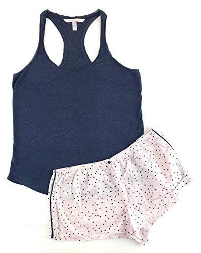 - Victoria's Secret Mayfair Racerback Tank and Short Set Medium Navy Marl/Pink Hearts