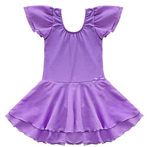 TIAOBU Girls Ballet Tutu Dance Costume Dress Kids Gymnastics Leotard Skirt Size 8-10 Purple (Childrens Dress Up Clothes)