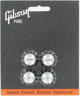 Gibson Top Hat Knobs Black W/ Silver Metal (Gibson Top Hat Knobs)