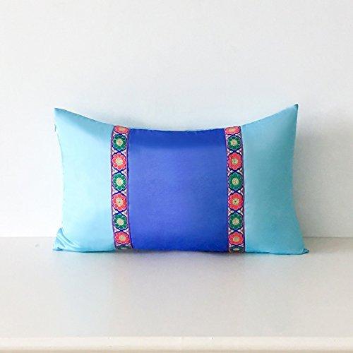 HOMEE I Love the Artist'S Original Mediterranean Living Room Blue Tower Poplin Stitching of Minimalist Solid Color Pillow Sofa Cushion ,30X50Cm, Birds Blue,Blue Bird,30X50cm