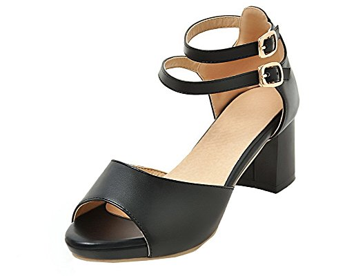 Sandales Noir TSFLG005531 Boucle Ouverture Correct AalarDom à Talon Femme d'orteil Tw0w1qHz