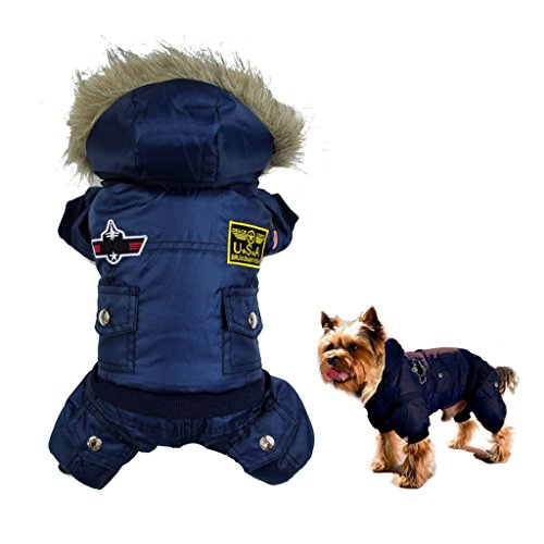 [Gimilife USA Pet Air Force Costume, Cotton Warm Coat with Hood Winter Clothes for Puppy or Cat (S: body-7.9.