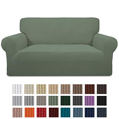Easy-Going Stretch Loveseat Slipcover 1-Piece Sofa Cover Furniture Protector Sofa Shield Couch Soft with Elastic Bottom for Kids, Spandex Jacquard Fabric Small Checks(loveseat,Greyish Green)