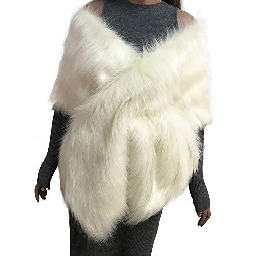 Forart Women Faux Fur Shawl Wrap Stole Shrug Bridal Wedding Warm Coat Poncho Cape by Forart