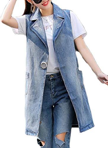 変化する専門用語色Keaac レディースファッションデニムロングウェストコートベストオープンフロントノースリーブコートトップス