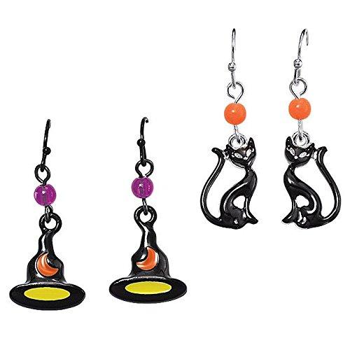 Spooky Nights Halloween Earrings - Cat -
