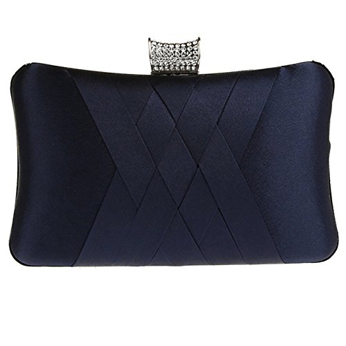 Womens Satin Evening Clutch Purse Beaded Prom Party Handbag Navy Blue (Beaded Silk Clutch)