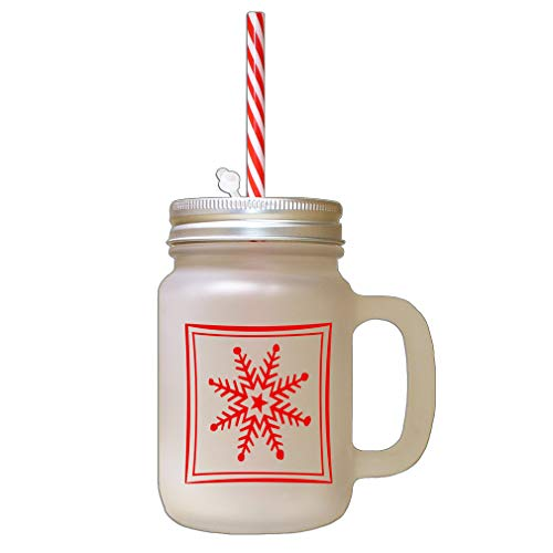 Red Snowflakes #2 Frosted Glass Mason Jar With Straw ()