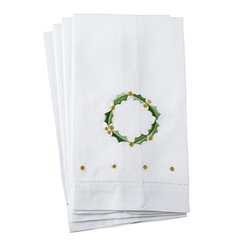 SARO LIFESTYLE Holly Leaf Wreath Embroidery Christmas Hemstitched Linen Cotton Guest Towel-Set of 4, 14