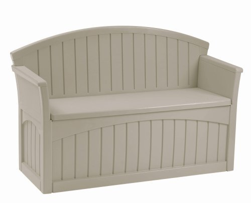 Suncast Outdoor Pool - Premium Storage Bench Furniture Seat for Patio Deck or Garden Seating Outdoor in Suncast Small Design