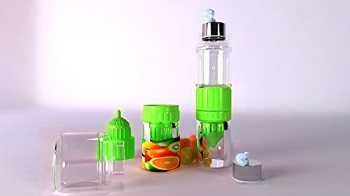 FRUIT INFUSED LEMON GLASS WATER BOTTLE ! BPA FREE AND LEAK PROOF. Used to Naturally Create Your Own Infused Water & Specialty Drinks. Dishwasher - Glasses Your Own Create