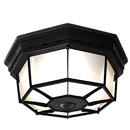 pretty nice 274ab 1d842 Secure Home 11.9-in W Black Motion Activated Outdoor Flush-Mount Light